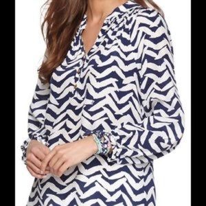 Lilly Pulitzer S Elsa 100% Silk Striped Blouse